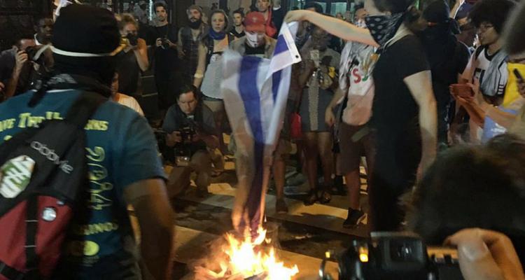Israeli Flag Burned