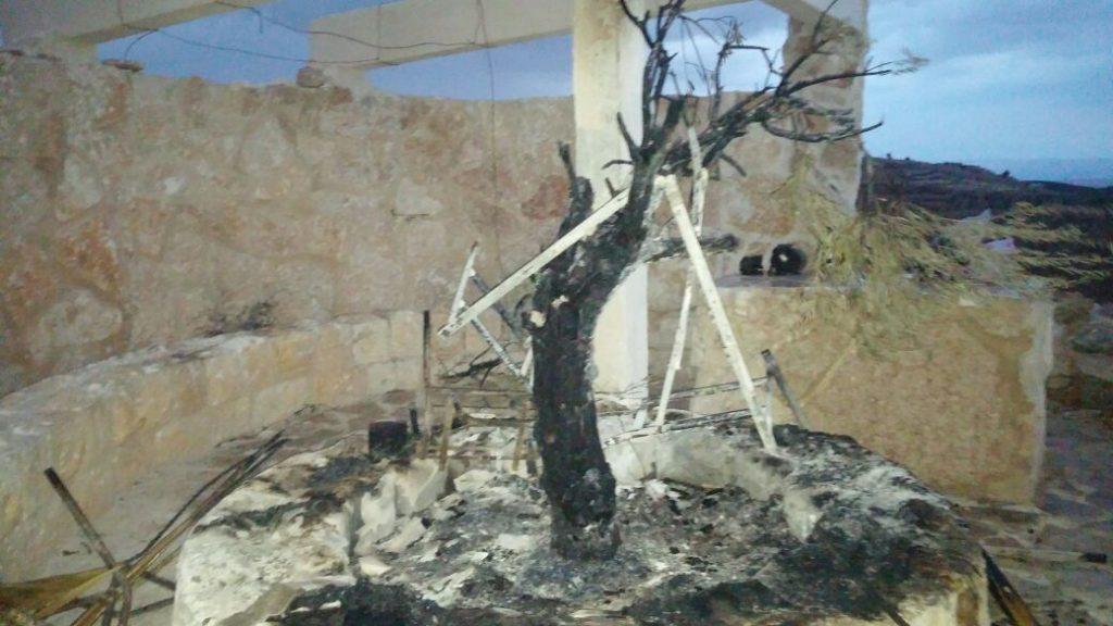 Destroyed interior of Mitzpe Ziv