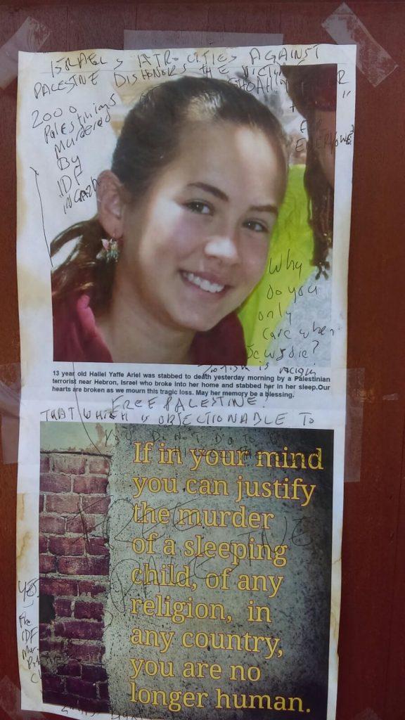 Vandalized Poster of Hallel Ariel